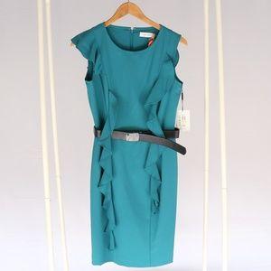 Calvin Klein Teal Blue Cocktail Belted Dress